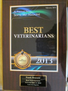 Best Vets Award - 2013 & 2014 - Seattle Met Magazine